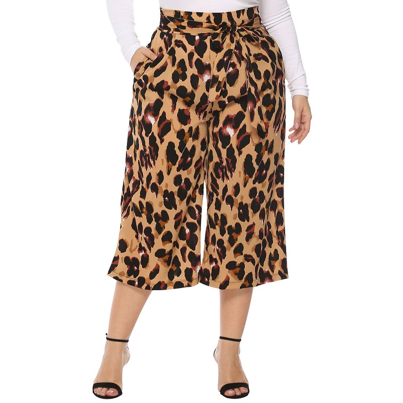 WHZHM Sashes Drawstring   Wide     Leg     Pants   Hign Waist Casual Woman Spring Trousers High Quality Leopard Print Loose   Pants   Ladies