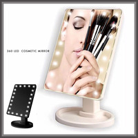 360 Degree Touch Screen Make Up Mirror Cosmetic Folding Portable Mirror Compact Pocket With 16 22