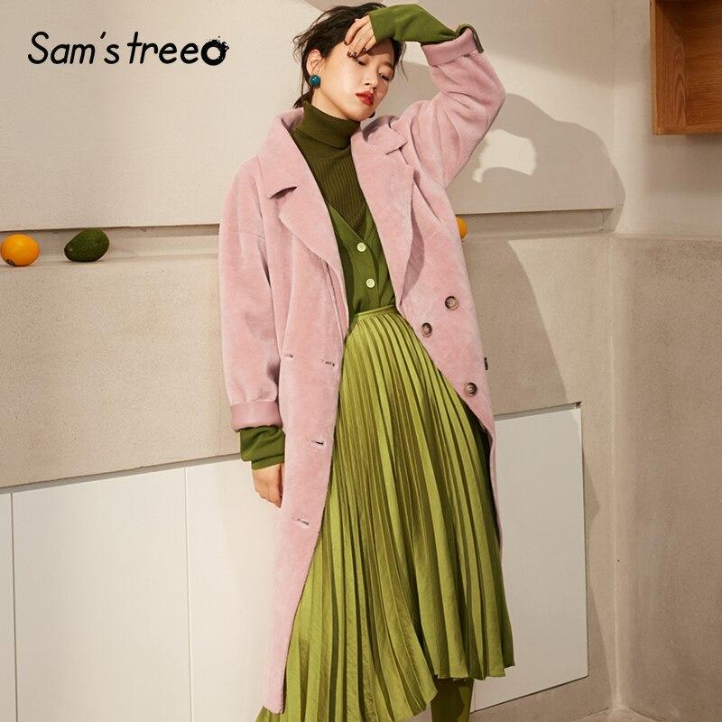 Rose Long Femelle Samstree Style Pink Collier Automne En Boutonnage D'hiver Suède Femmes Turn Double down Manteaux Manteau Lady Coréen PvwqzP