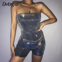Darlingaga Fashion Strapless Bling Glitter Playsuit Bodysuit off Shoulder Bodycon Jumpsuit 2019 New Zipper Sexy Party Playsuits