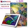 Para lenovo tab 2 a10-70f/l capa tablet 10.1 polegada pintado stand virar para lenovo a10-30 x30f/tab3 10 tablet business case + film