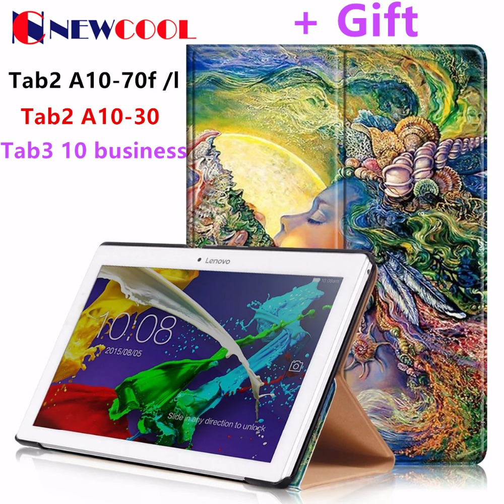 Tab2 A10-70F/L Tablet Cover 10.1 inch Painted Flip Cover For Lenovo A10-30 X30F tab3 10 business TB3-X70L TAB3-X70f Tablet case tab2 a10 70f tempered glass screen protector for lenovo tab 2 a10 70 tab3 x70f x70m tab 10 tb x103f