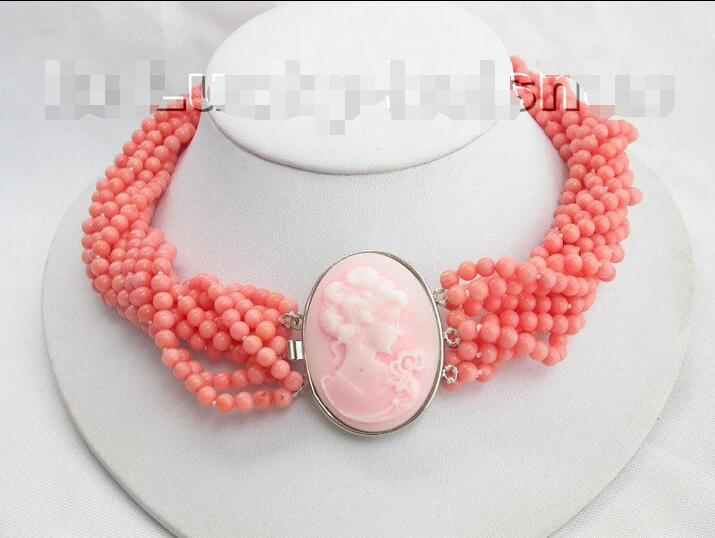 AAA 10Stds 100% natural pink coral necklace cameo clasp>Selling jewerly free shipping