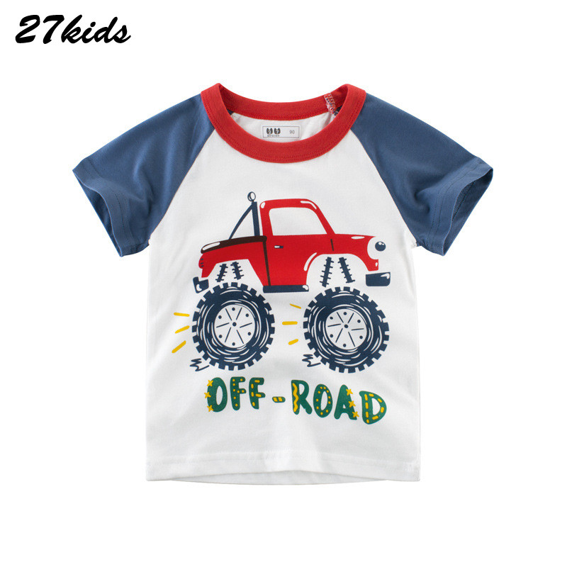 27kids Cartoon Tractors Vehicle Tshirt Girl Boy Cotton Baby Boys Shirt for Summer Child T-Shirts New Children Kids Tops Tees