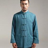 Satijnen Pakken Новый Для мужчин в Осень и зима оригинальных китайский Тан костюм толстый воротник пальто тонкий куртка на подкладке из хлопка, 15336