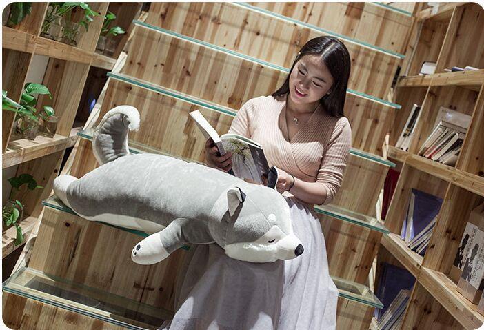 Énorme peluche husky chien jouet doux gris gros husky oreiller cadeau environ 115 cm 2941
