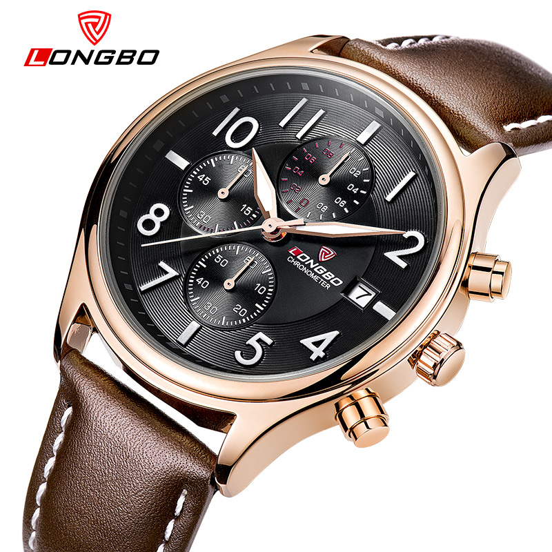 LONGBO Luxury Brand Men Leather Watch Sports Quartz Watches For Men Male Casual Clock Military Watch Relogio Masculino 80173 2017 oukeshi brand men sports watches luxury leather military watch male quartz wristwatch relogio masculino oks11