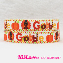 10 yards lot 7/8inch 22mm 160912017 Thanksgiving Day turkey gobble design printed grosgrain ribbon()