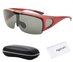 Image 3 - Agstum Mens Womens Wraparound Goggles Polarized Fishing Driving Glasses Flip Up Fit Over Sunglasses