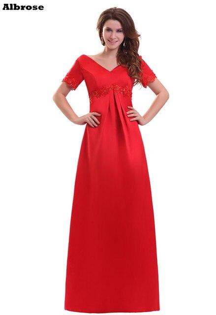 Cheap Red Satin Evening Dress Empire Waist Formal Evening Dresses