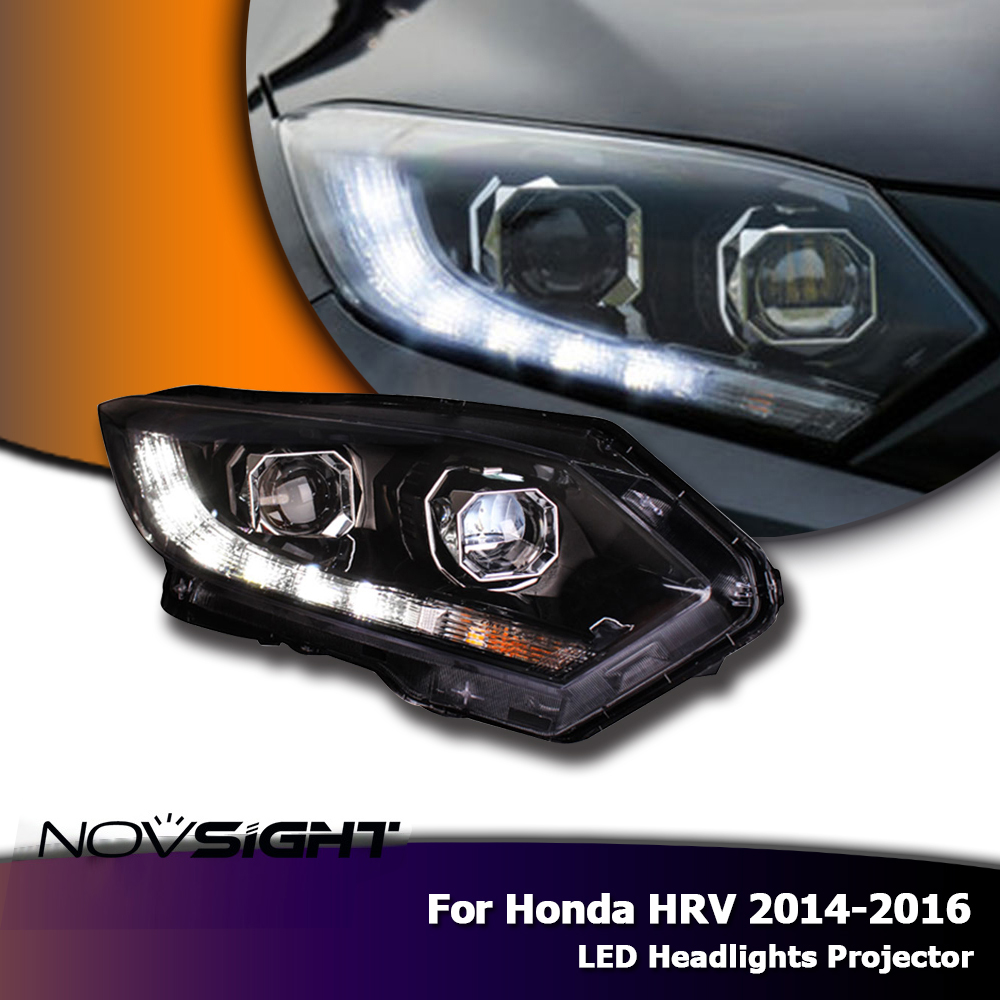 NOVSIGHT Car Styling for <font><b>Honda</b></font> <font><b>HRV</b></font> <font><b>Headlights</b></font> 2014-2016 Vezel LED <font><b>Headlight</b></font> DRL Bi Xenon Lens High Low Beam Parking Fog Lamp image