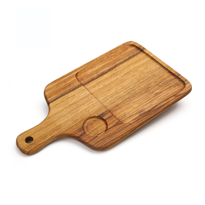 Wooden breadboard with handle zebra wooden dessert fruit plate food supplement board