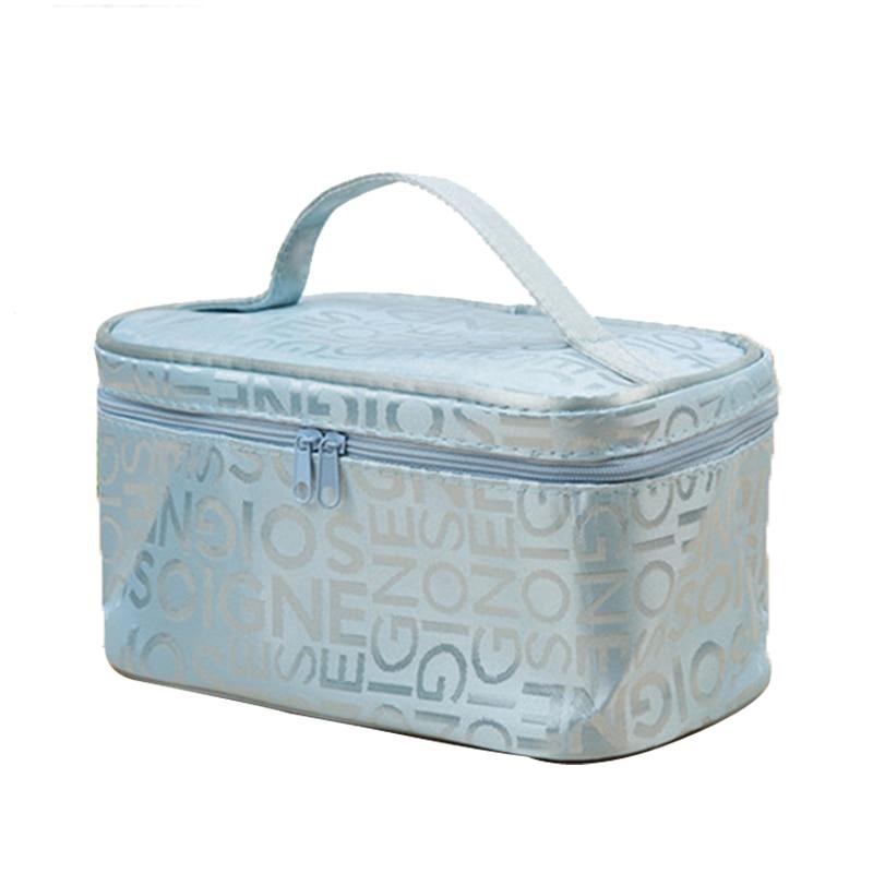 Fashion Letter Makeup Bag Cosmetic Bag Women Square Travel Handbag Toiletry Organizer Solid High Capacity Bags Girls