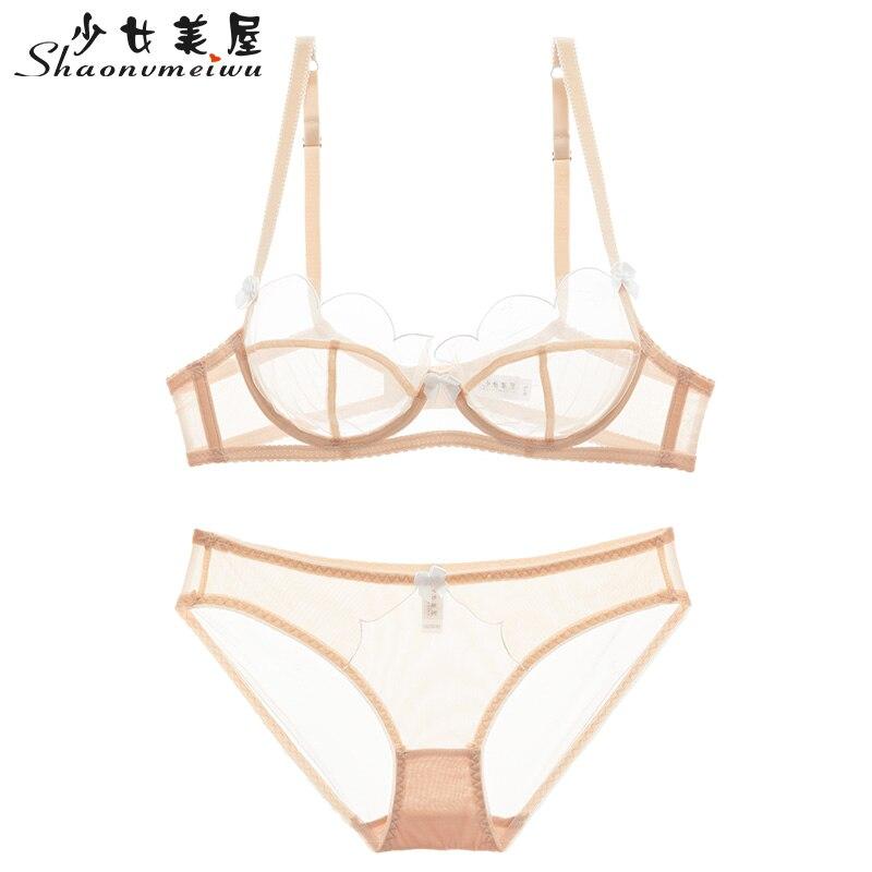 Shaonvmeiwu Francês copo fino tentação sexy lace gaze natal lingerie conjunto de sutiã sutiã sem esponja confortável respirável