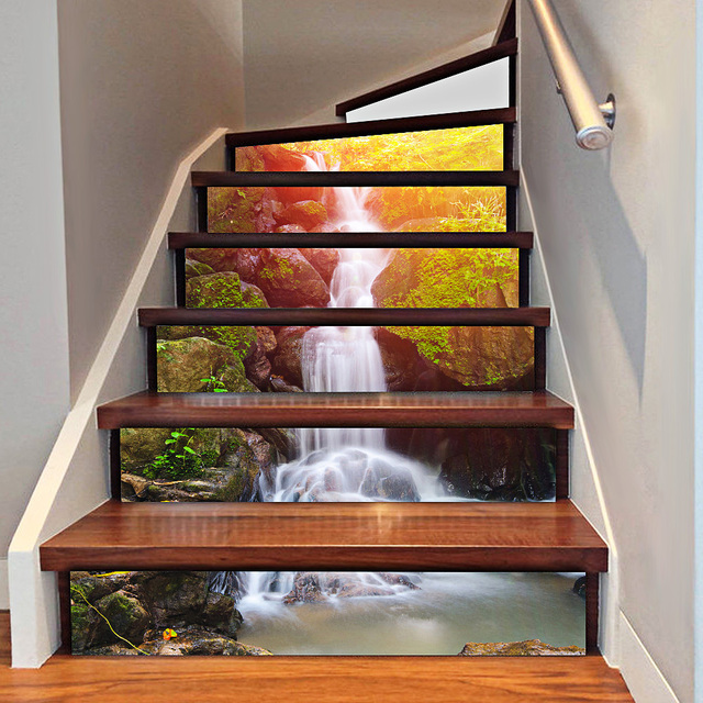 Creative DIY Wallpaper 3D Waterfall Stair Stickers Waterproof Wall Paper Stair  Tile Stickers Home Room Decorations