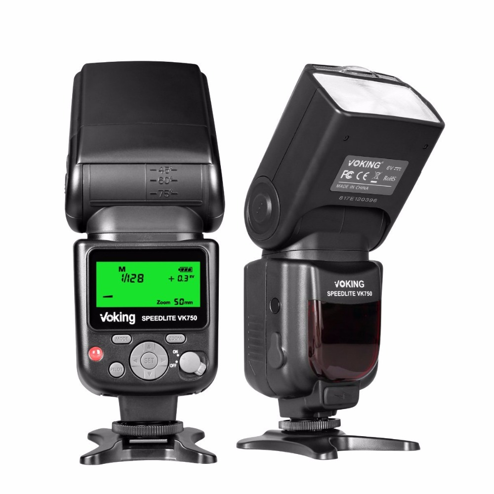 Voking VK750 Manual Flash Speedlite with LCD Display for Canon Nikon Panasonic Olympus Pentax and Other DSLR Cameras-in Flashes from Consumer Electronics    1