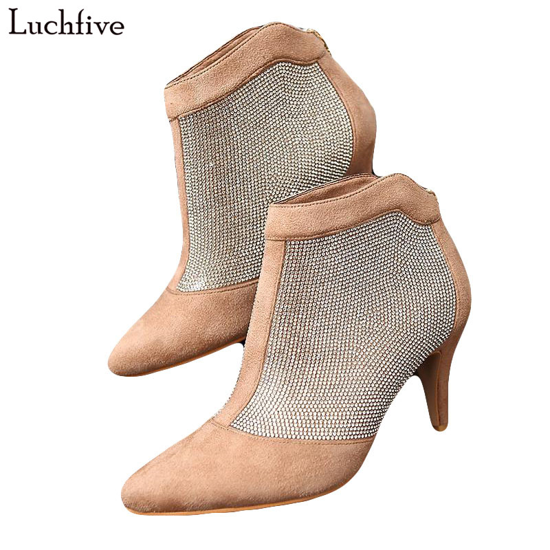 Luchfive bling ankle boots for women crystal studded kitten heels top quality diamond rhinestone Design Short Booties Shoes 2018