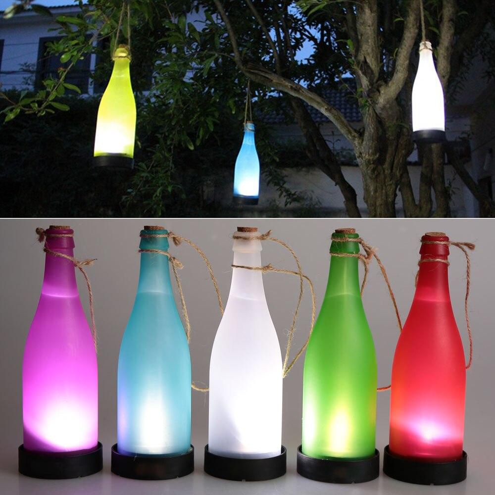 Hanging solar patio lights - 5pcs Solar Powered Light Sense Cork Wine Bottle Led Hanging Lamp For Outdoor Party Garden Courtyard
