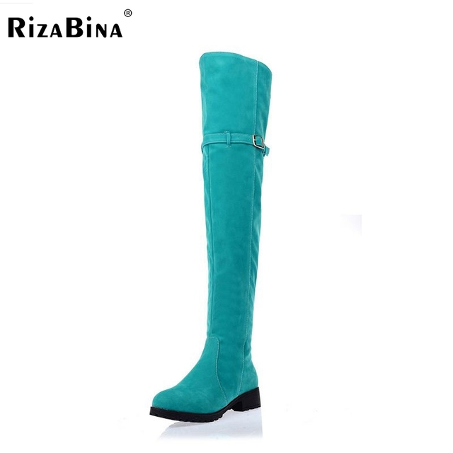 RizaBina women over knee boot flat boots woman snow botas masculina  winter footwear warm long shoes P10567 EUR size 34-43