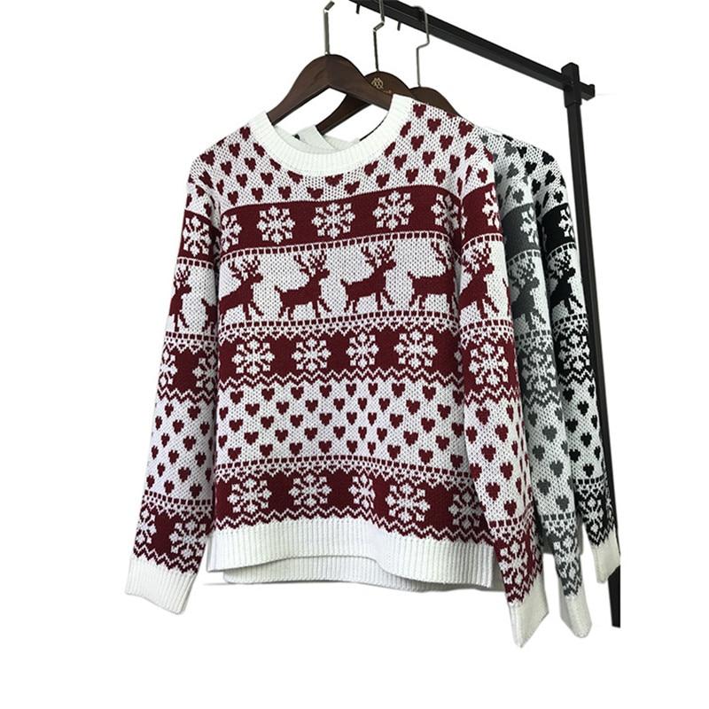 Drop Shipping Christmas Women Long Sleeve Pullover Sweater Jumper Tops Shirt Blouse S-XL Christmas Costume
