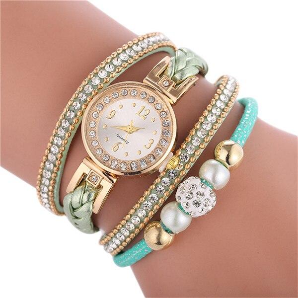 Relogio браслет часы для женщин обернуть вокруг модный браслет модное платье Дамские женские наручные часы relojes mujer часы для подарка - Цвет: Green