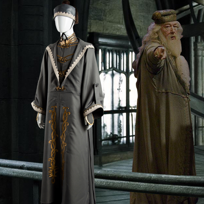 Harry Potter Hogwarts Albus Dumbledore Principal Wizar Uniform Full Set Cosplay Costume