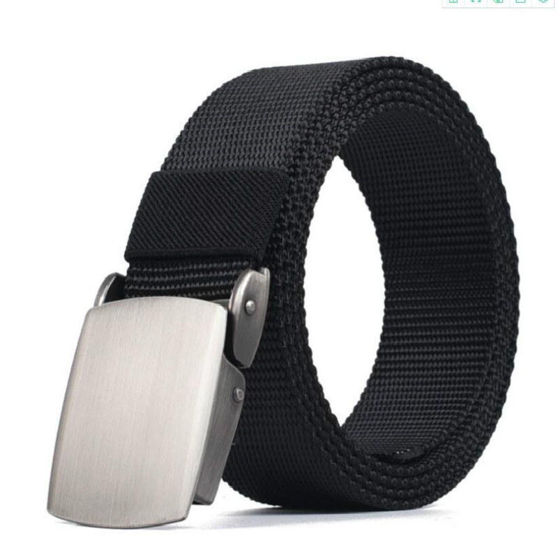 Men and women automatic buckle smooth buckle nylon canvas slim belt tactics outdoor trousers students military training belts|Men