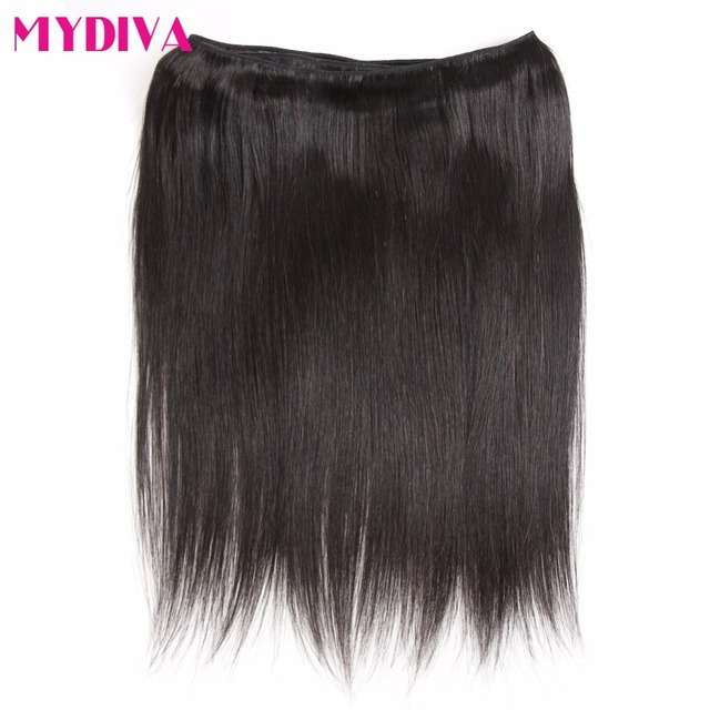 Straight Human Hair Bundles With Closure Non Remy Brazilian Hair