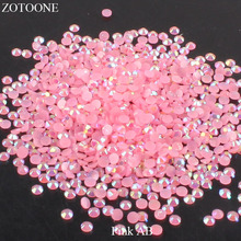ZOTOONE FlatBack Non HotFix Resin Pink AB Rhinestones Strass Crystal Applique DIY Nail Art Glue On Stones for Clothes Decoration