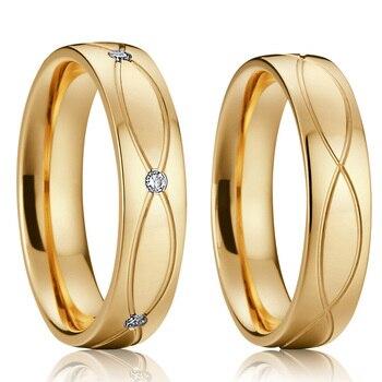 Panie kochają sojusze złoty wniosek małżeństwo zestaw pierścieni ślubnych dla par mężczyzn i kobiet biżuteria ze stali nierdzewnej