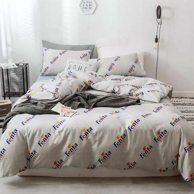 Stylish Blue Letter Pattern Duvet Cover Set Bed Cotton Linens Pillowcase 3/4pcs Bedding Bed Set Bedding Full Queen King 3 Size Stylish Blue Letter Pattern Duvet Cover Set Bed Cotton Linens Pillowcase 3/4pcs Bedding Bed Set Bedding Full Queen King 3 Size