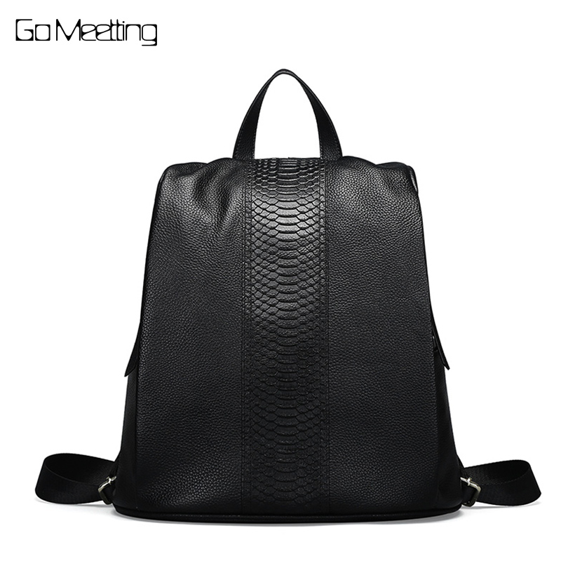 Luxury Female Genuine Leather Backpacks Knapsack Zipper Design Real Leather Women's Backpack Large Capacity Girl Travel Bag New