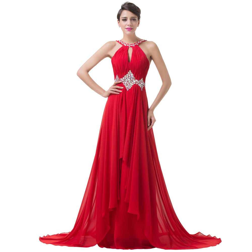 Grace Karin Long Red Evening Dresses 2018 Backless Beaded Chiffon Floor Length Elegant Formal Gowns Prom Sexy Party Dresses 5