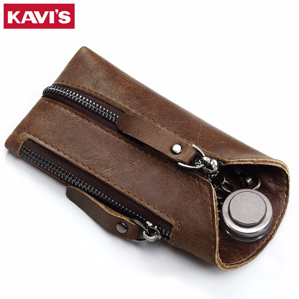 KAVIS Genuine Leather Housekeeper Key Wallet Smart Car Bag Pouch Ring Wrap Fo Organizer Case Man With Coin Card Holder Keychain vintage genuine leather key wallet men keychain covers zipper key case bag men key holder housekeeper keys organizer