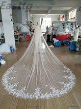 4 metre beyaz fildişi katedrali Mantilla düğün Veils uzun dantel kenar gelin peçe tarak ile düğün aksesuarları beyaz peçe gelin