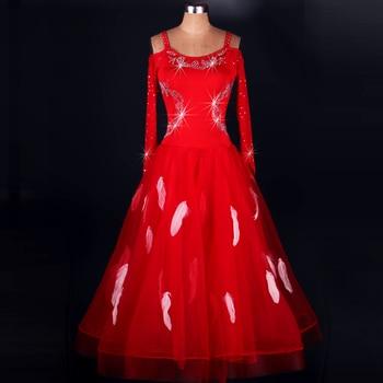New Black Red Dress For Ballroom Dances Standard Sexy Long Sleeve Feather Professional Waltz/Tango-Dancing Dresses DL2150
