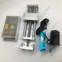 Nema23 2.2nn 폐 루프 스테퍼 모터 드라이버 전원 공급 장치 및 600mm 선형 모듈 슬라이딩 테이블 xyz 축 크로스 스테이지 볼 스크류 키트