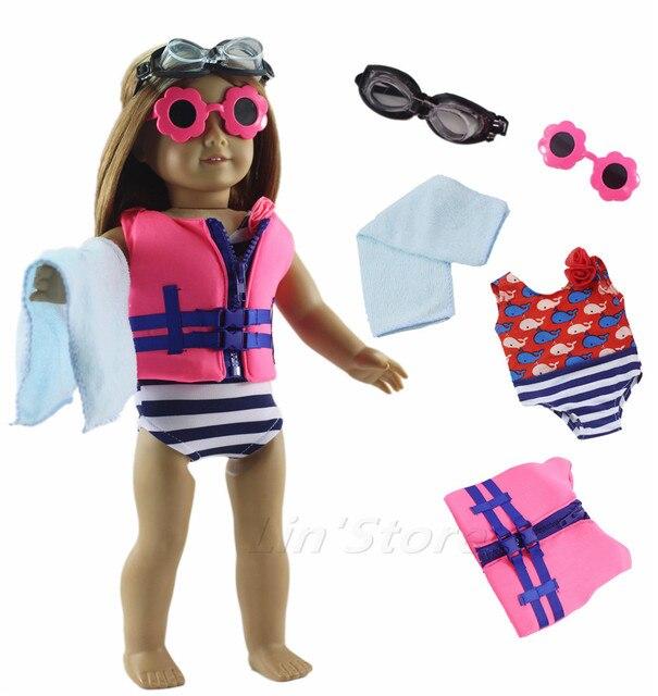 166e5d707878 € 10.8 |5in1 conjunto de ropa de muñeca traje de baño chaleco salvavidas +  ropa de natación + gafas de buceo + gafas de sol + toalla para muñeca ...