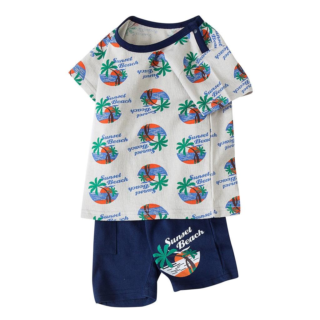 Outfits-Set Shorts Print Baby Boys Kids Cotton Cartoon Letter Roupa Tops Infantil