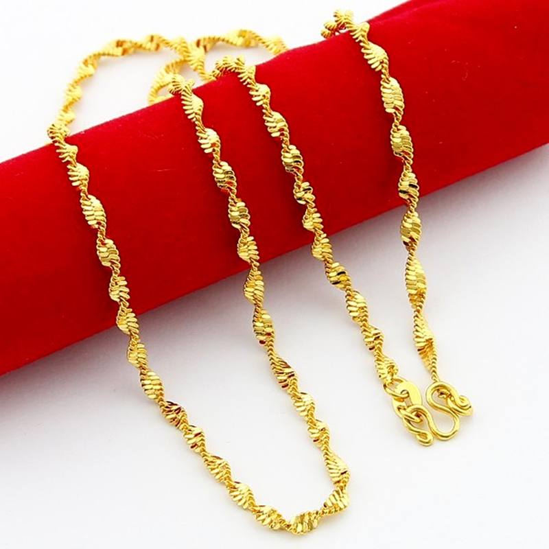 2.2mm 45cm 24K Gold Color Twisted Chain Necklaces Wave Chains ...