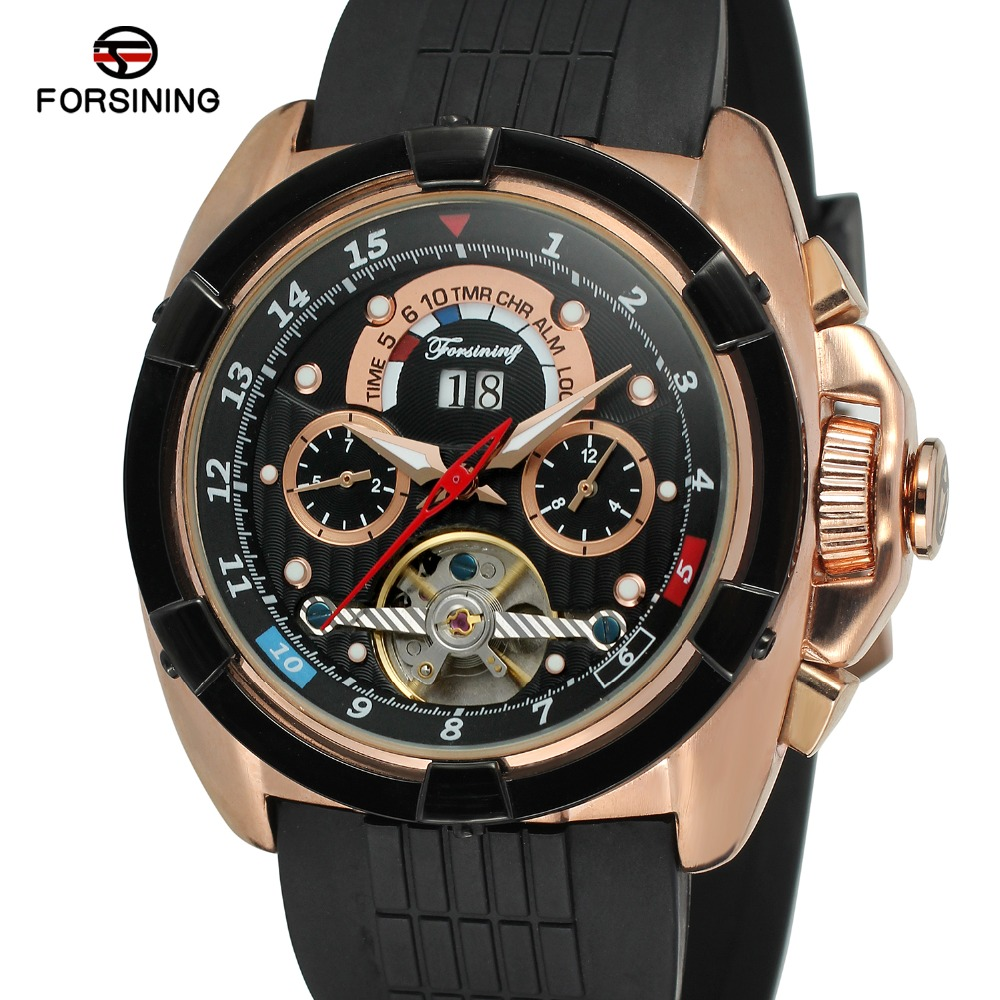 Multifunction Date Day Display Rose Gold Case Rubber Forsining Band Tourbillon Mens Watch Top Brand Luxury Sport Automatic WatchMultifunction Date Day Display Rose Gold Case Rubber Forsining Band Tourbillon Mens Watch Top Brand Luxury Sport Automatic Watch