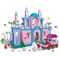 Castillo de la princesa grandes bloques de construcción bangbao pink palace modelo diy juguetes carro príncipe 532 unids chica de regalo de navidad