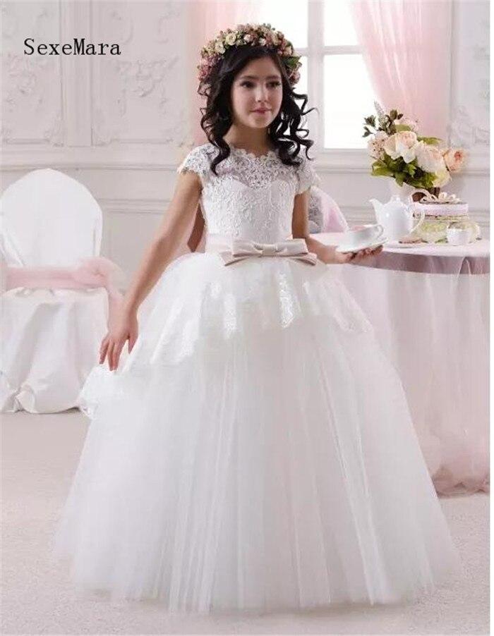 Белый кружевной топ милый цветок платья для девочек с круглым вырезом маленьких Кепки рукава бальное платье по свадебное детское платье пр