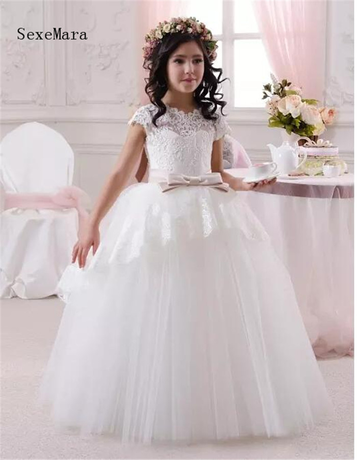 White Lace Top Cute Flower Girl's Dresses Crew Neck Little Cap Sleeves Ball Gown Over Wedding Princess Kids Dress цена
