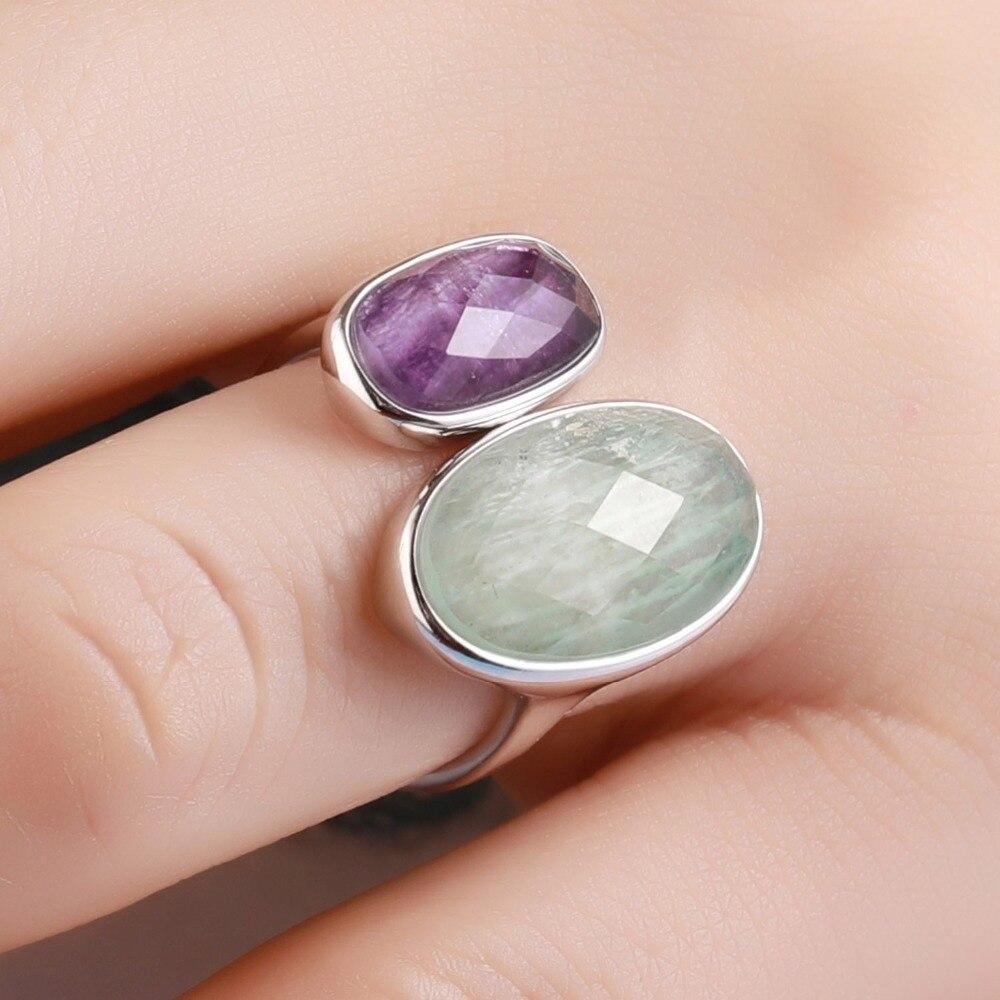 DORMITH real 925 argent sterling pierres précieuses anneaux naturel amazonite fluorite pierre anneaux pour femmes bijoux taille réglable anneau - 2