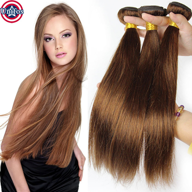 Amazing Straight Light Brown Brazilian Hair Light Brown Hair Weave Color 4 Human  Hair Extension Bundles Light Nice Design