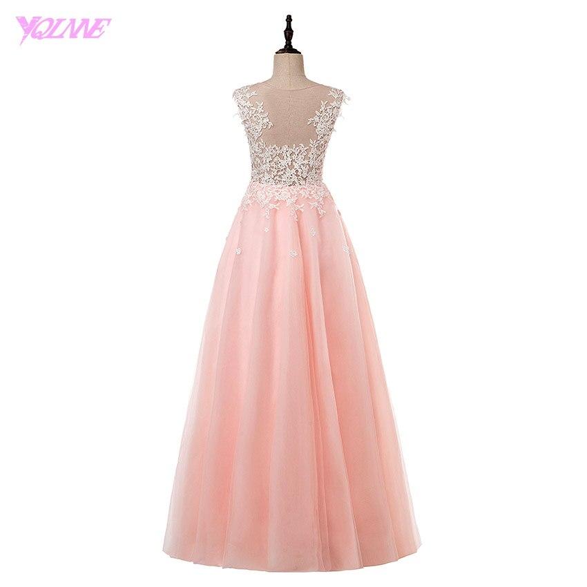 Yqlnne elegante Rosa largo Vestidos de baile real fotos Encaje ...