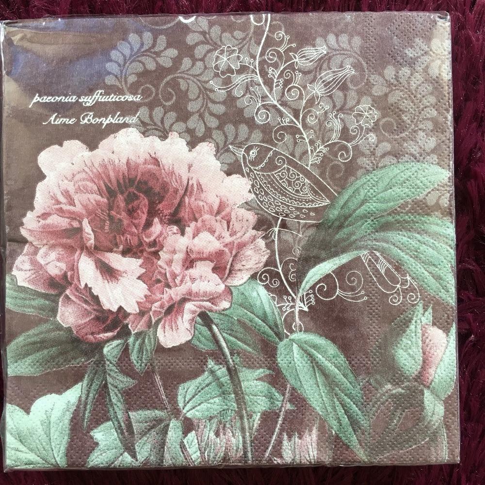 Vintage Napkin Paper Tissue Retro Peony Flower Handerchief