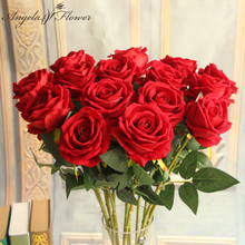 Hotel 6pcs artificial flowers single rose branch decor home table room wedding flower arrangement materials Valentine's day gift