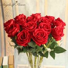 Hotel 6 sztuk sztuczne kwiaty pojedyncza róża oddział wystrój domu stół pokój ślubny kwiat materiały aranżacyjne prezent na walentynki